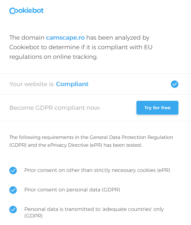 GDPR: Cookie conform GDPR verificate de Cookiebot