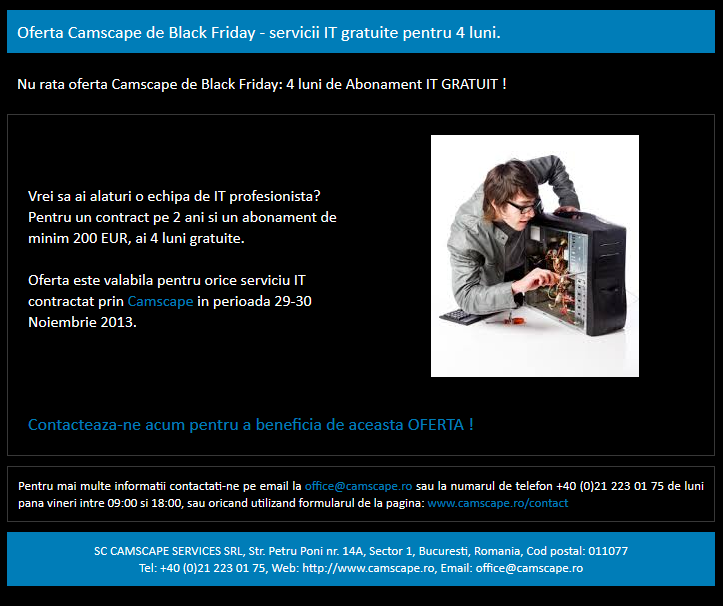 Oferta servicii IT Black Friday, Camscape, 4 luni abonament IT gratuit