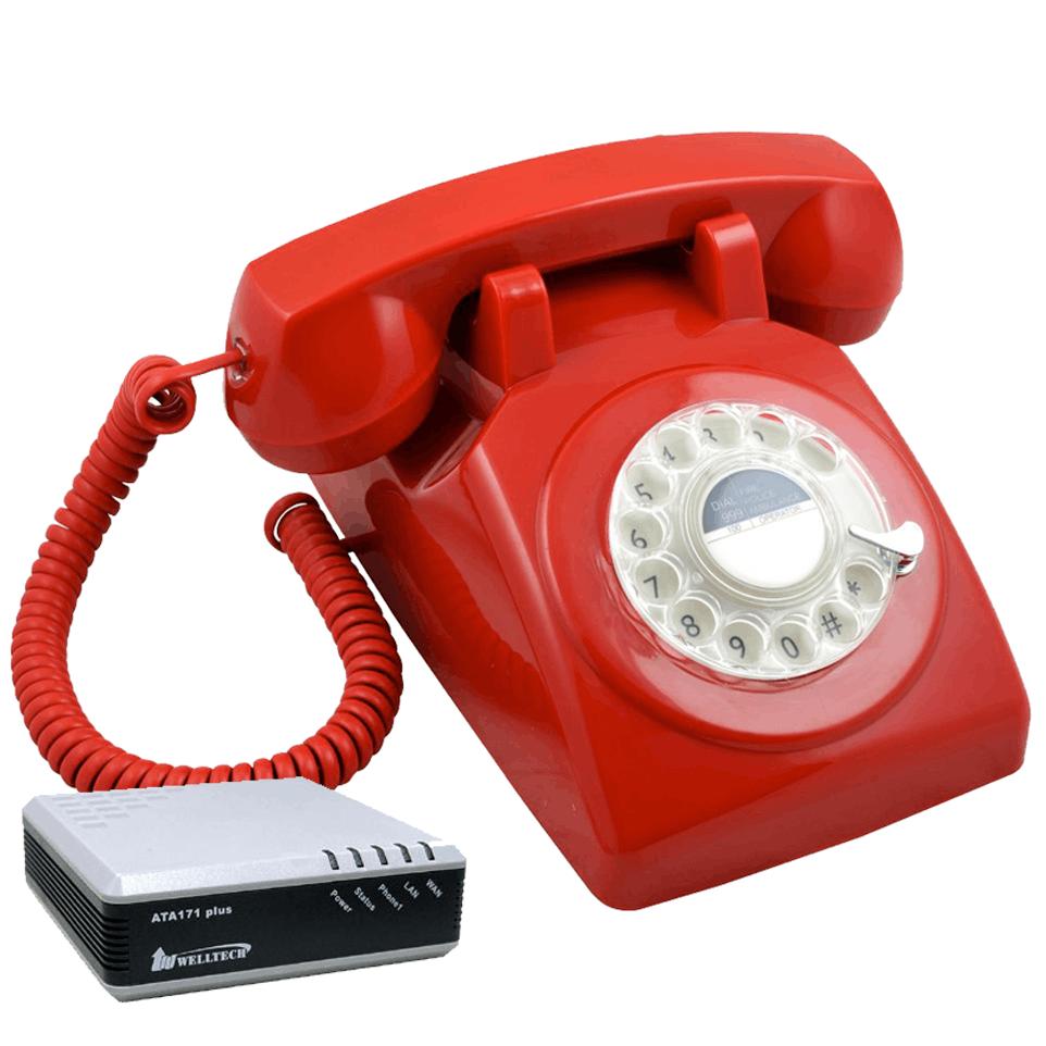 Telefon clasic cu disc (Retro 1970) rosu